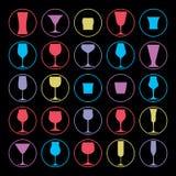 Collection décorative de verres à boire Ensemble de gobelets de vecteur Photos stock
