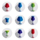 Collection décorative de verres à boire Ensemble de gobelets de vecteur, s Photographie stock