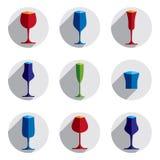 Collection décorative de verres à boire Ensemble de gobelets de vecteur, s Photo stock