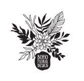 Collection décorative noire de plantes et de fleurs de Boho Photo libre de droits