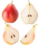 Collection découpée en tranches par fruit de poire d'isolement Image stock