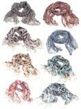 Collection d'écharpe d'isolement sur le blanc Photographie stock libre de droits