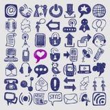 Collection d'élément de communication de croquis d'aspiration de main Photos libres de droits