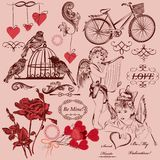 Collection d'éléments décoratifs de Saint-Valentin de vintage Images stock