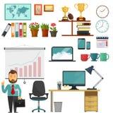 Collection d'éléments de bureau, ensemble d'éducation d'affaires Photo libre de droits