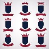 Collection d'éléments de conception d'empire Couronne royale héraldique illustration stock