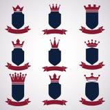 Collection d'éléments de conception d'empire Défectuosité royale héraldique de couronne illustration stock