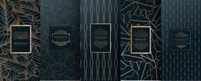 Collection d'éléments de conception, labels, icône, cadres, pour l'empaquetage, illustration de vecteur
