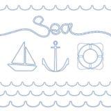 Collection d'éléments nautiques d'isolement sur le fond blanc Marine Rope Conception nautique Images libres de droits