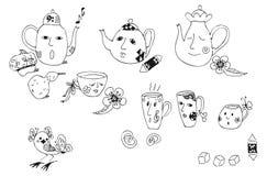 Collection d'éléments tirés par la main de bande dessinée pour le thé Photos stock