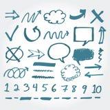 Collection d'éléments tirés par la main de barre de mise en valeur Image stock