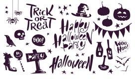 Collection d'éléments traditionnels de décoration de Halloween de vecteur de noir mat sur le lettrage blanc de fond, araignées, p Images stock