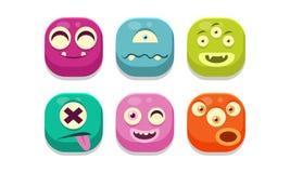 Collection d'émoticônes colorées de boutons avec différentes émotions, illustration de vecteur de monstres d'emoji illustration stock