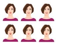 Collection d'émotions du ` s de femme Photos stock