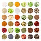 Collection d'épices et d'herbes (chemin de coupure) Image stock