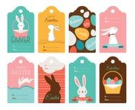 Collection d'étiquette de Pâques avec des lapins et des oeufs de pâques Joyeuses Pâques illustration stock