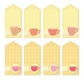 Collection d'étiquettes de tasses de thé images libres de droits
