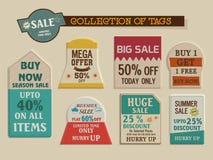 Collection d'étiquettes de vintage en grande vente avec l'offre de remise illustration stock