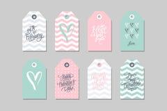 Collection d'étiquettes heureuses de cadeau de jour de valentines Ensemble de label tiré par la main de vacances Images libres de droits
