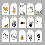 Collection d'étiquettes romantiques tirées par la main de cadeau Photo stock