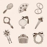 Collection d'accessoires de beauté du vintage de Madame Photographie stock