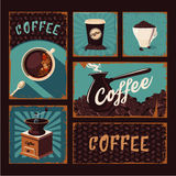 Collection d'affiches de vintage de Coffeeshop Signes de vecteur de café Image stock