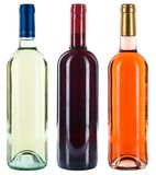 Collection d'alcool de rose de blanc de rouge de vins de bouteilles de vin d'isolement image libre de droits