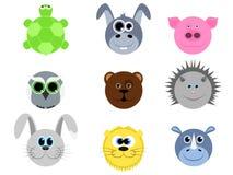 Collection d'animal mignon de visage Photos libres de droits