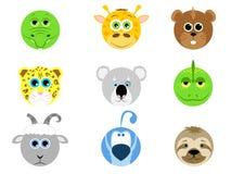 Collection d'animal mignon de visage Photos stock