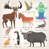 Collection d'animaux éteints avec des noms Liste de mammifères, d'oiseaux et de créatures de mer qui ont cessé d'exister illustration stock