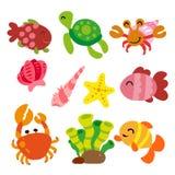 Collection d'animaux de mer illustration libre de droits