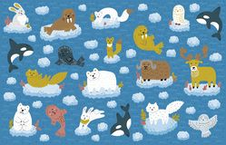 Collection d'animaux de Pôle Nord flottant sur une banquise Personnages de dessin animé puérils mignons Illustration de vecteur illustration stock