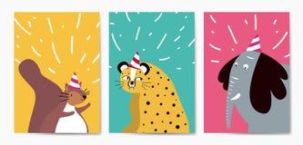Collection d'animaux mignons dans le vecteur de style de bande dessinée illustration libre de droits