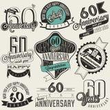 Collection d'anniversaire de style soixantième de vintage Image libre de droits