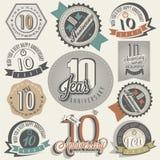 Collection d'anniversaire du style 10 de vintage. Photos stock