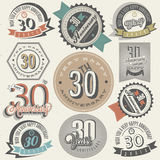Collection d'anniversaire du style 30 de vintage. Images stock