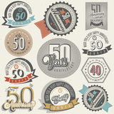 Collection d'anniversaire du style 50 de vintage. Photo libre de droits