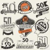 Collection d'anniversaire du style 50 de vintage Photo libre de droits