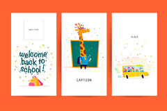 Collection d'appartement de nouveau aux designs de carte d'école avec le lettrage, les animaux et les milieux sans couture Photos stock