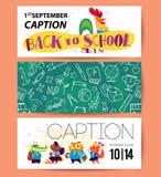 Collection d'appartement de nouveau aux designs de carte d'école avec le lettrage, les animaux et les milieux sans couture Photographie stock libre de droits