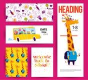 Collection d'appartement de nouveau aux designs de carte d'école avec le lettrage, les animaux et les milieux sans couture Image libre de droits