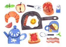 Collection d'aquarelle de petit déjeuner de matin d'isolement avec le chemin de coupure illustration libre de droits