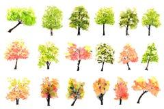 Collection d'arbres colorés sur le blanc, aquarelle peinte à la main Photos stock