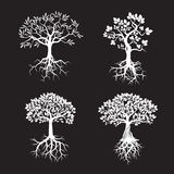 Collection d'arbres et de racines blancs Illustration de vecteur Photo stock