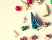 Collection d'arbres et d'ornements de Noël Images stock