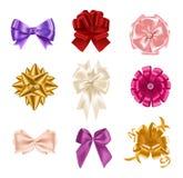 Collection d'arcs en soie réalistes colorés élégants de type différent illustration stock