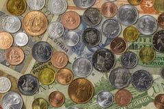 Collection d'argent du monde Photos libres de droits