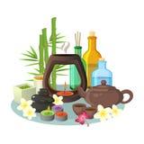 Collection d'Aromatherapy de bougies et de bouteilles colorées spéciales pour la relaxation Photos stock