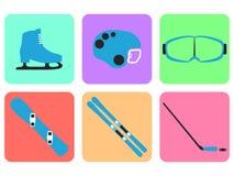 Collection d'article de sport d'hiver sur le fond blanc OIN plate Photos libres de droits