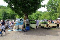 Collection d'articles à vendre sur les tables et la terre, marché aux puces de tronc du ` s d'éléphant, nouveau Milford, CT 2017 Photo stock